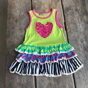 Jelly the Pug Ruffle Heart Lime Drop Waist Dress